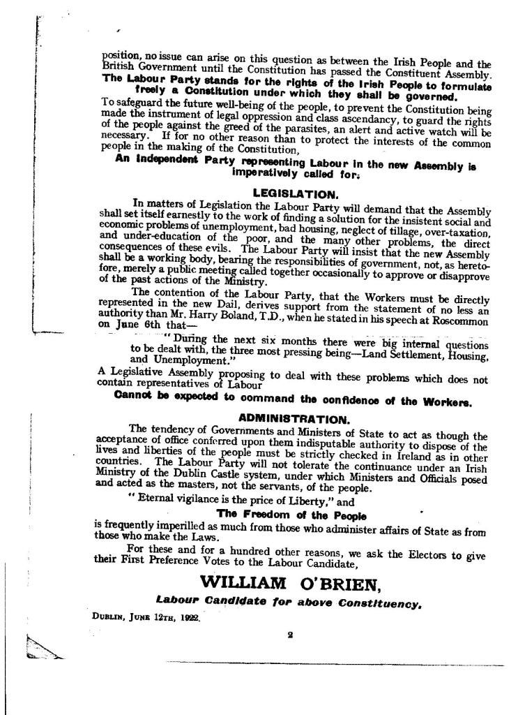 BOR F12/08a-b William O'Brien Election leaflet, 1922